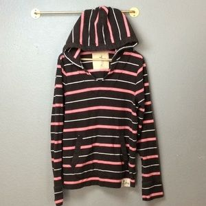 Hollister brown pink and white striped surf hoodie